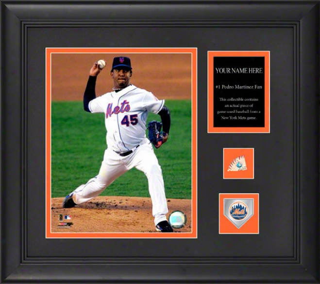 Pedro Martiez New York Mets Framed 6x8 Photograph With Personalized Plate, Game Used Baseball Piece And Team Medallion