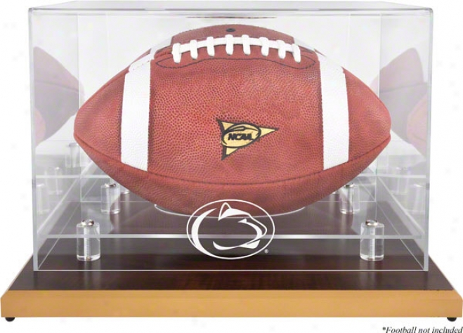 Penn State Nittany Lions Wood Base Logo Football Display Case With Mirror Back