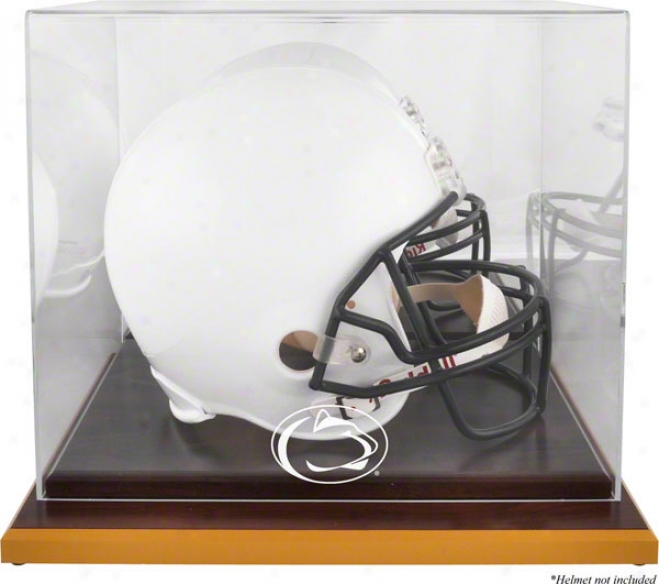 Penn State Nittany Lions Wood Base Logo Helmet Dsiplay Case With Mirror Back