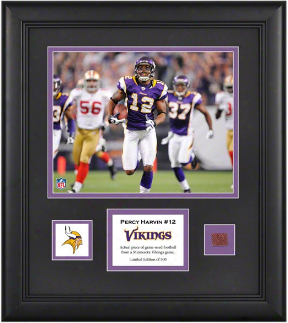 Percy Harvin Framed 8x10 Photograph  Details: Minnesota Vikings, With Game Used Footbwll Piece And Descriptive Plate