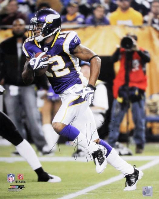 Percg Harvin Minnesota Vikings Autographed 16x20 Photograph With Roy'09 Inscription