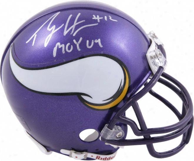 Percg Harvin Minnesota Vikings Autographed Mini Helmet With Roy'09 Inscription