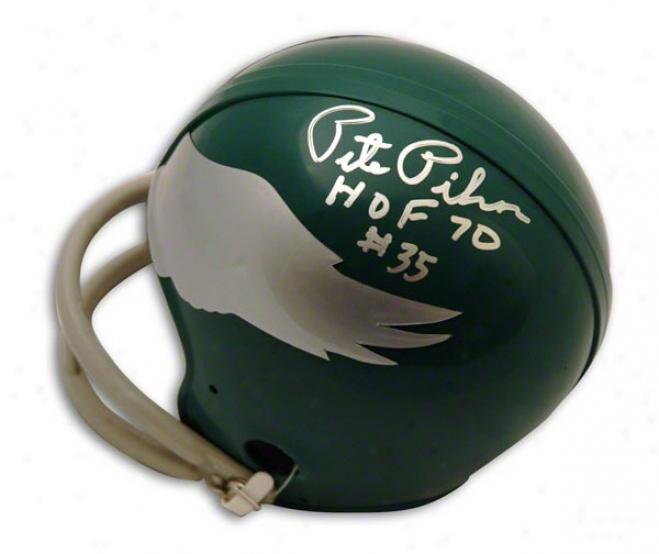 Pete Pihos Autographed Philadelphia Eagles Throwback Mini Helmet Inscribed Hof 70