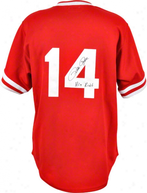 Pete Rose Autographed 1985 Jersey  Details: Cincinmati Reds, Hit King Inscription