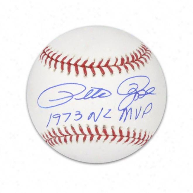 Pete Rose Autographed Baseball  Details: 1973 Nl Mvp Inscription