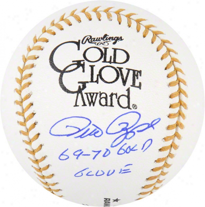 Pete Rose Autographed Baseball  Details: Gold Glove, 69-70 Gg Inscription