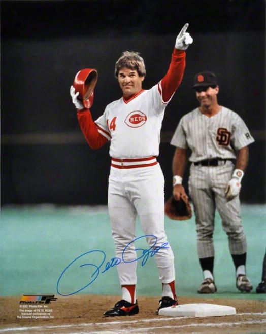 Pete Rose Autographed Photograph  Details: 16x20, Cincinnati Reds