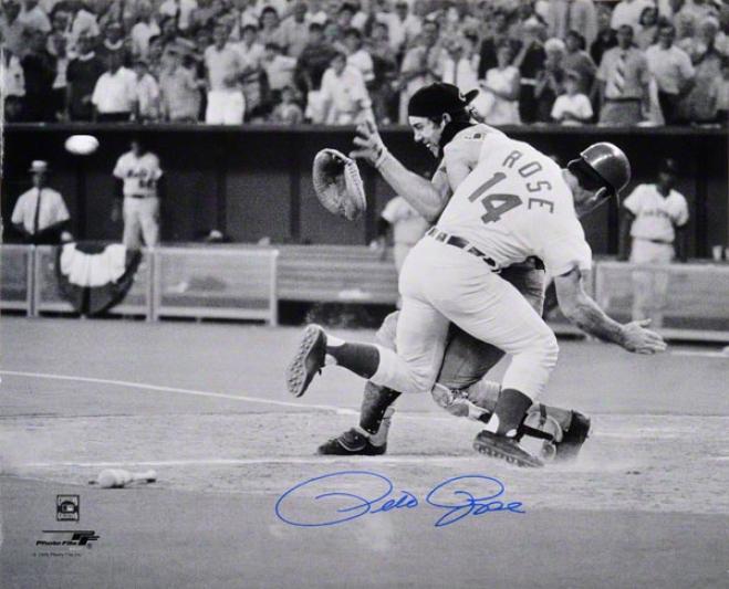Pete Rose Autographed Photograph  Details: 16x20, Cincinnati Reds, Collision