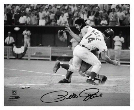 Pete Rose Cincinnati Reds - Collision - Autographed 8x10 Photograph