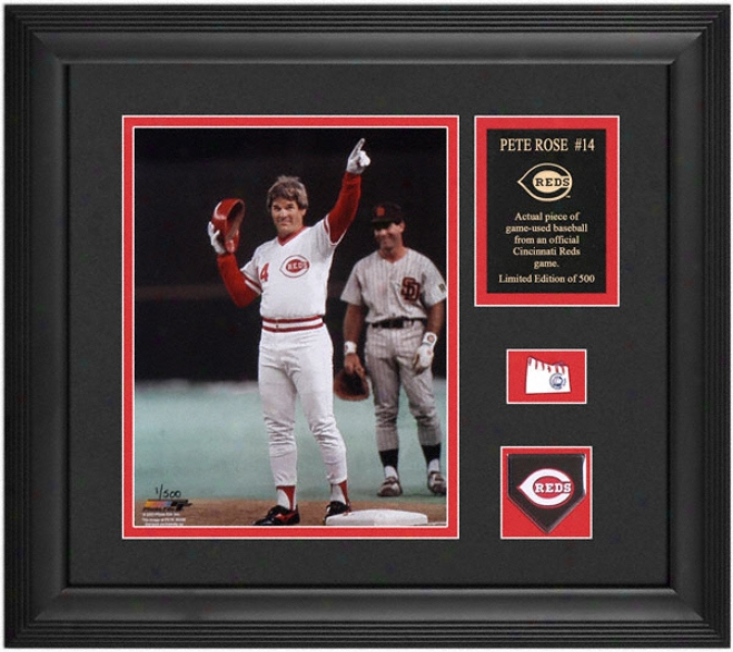 Pete Rose Cincinnati Reds Framed 8x10 Photograph With Game Used Baseball Piece, Team Medallion And Descriptive Dish
