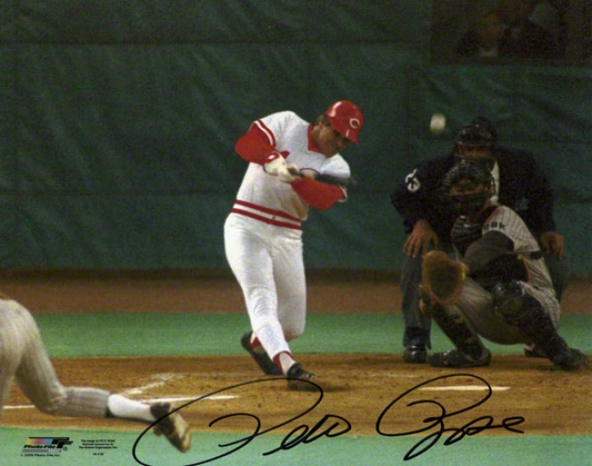 Pete Rose Cincinnati Reds Hit #4192 8x10 Autographed Photograph