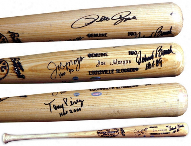 Pete Rose, Johnny Bench, Tony Perez And Joe Morgan Autographed Bat  Details: Great Red Machine, Louiisville Slugger Baseball Bat, Hof Inscription