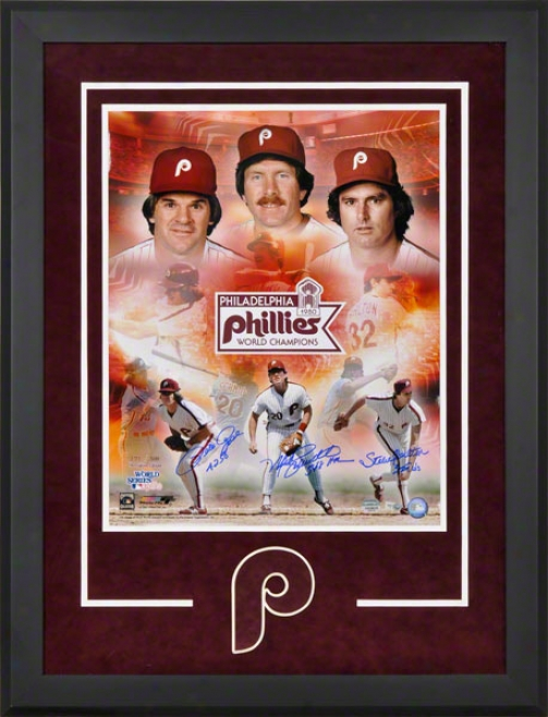 Pete Rose, Mike Schmidt, And Steve Carlton Deluxe Framed Autographed 16x20 Phototograph  Details: Philadelphia Phillies, With 3 Inscriptions