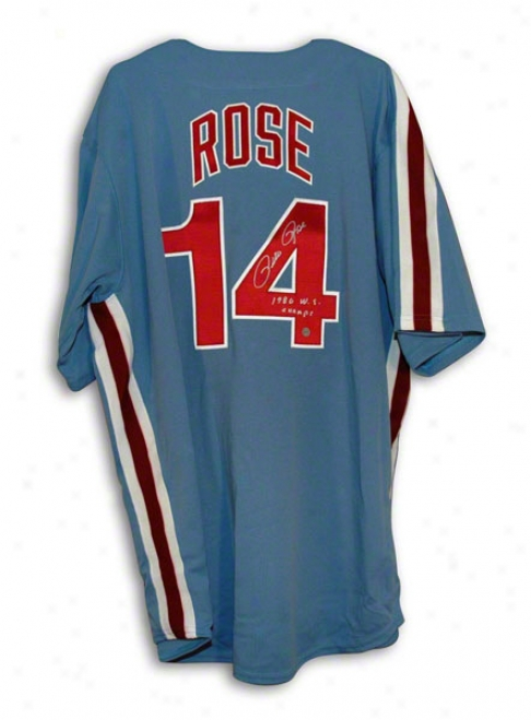 Pete Rose Philadelphia Pyillies Autographed Blue Majestic Je5sey Inscribed 80 Ws Champs