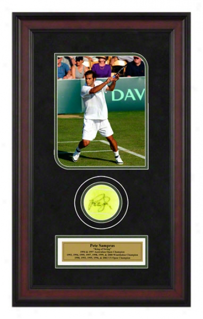 Pete Sampras 2002 Davis Cup Framed Autographed Tennis Ball With Photp