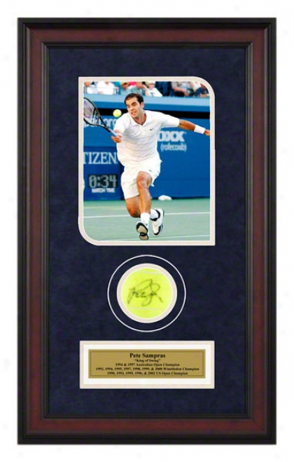 Pete Sampras 2002 Us Open Framed Autographed Tennis Ball With Photo