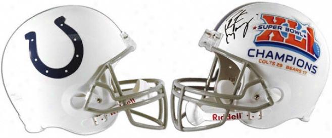 Peyton Manning Autographed Helmet  Details: Indianapolis Colts, Riddell Replica Helmet , Super Bowl Champions