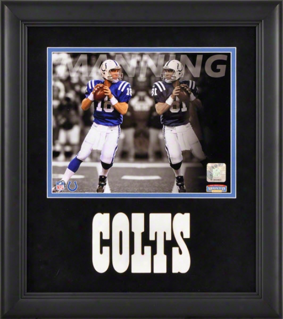 Peytton Manning Framed Photograph  Details: 8x10, Reflections, Indianapolis Colts