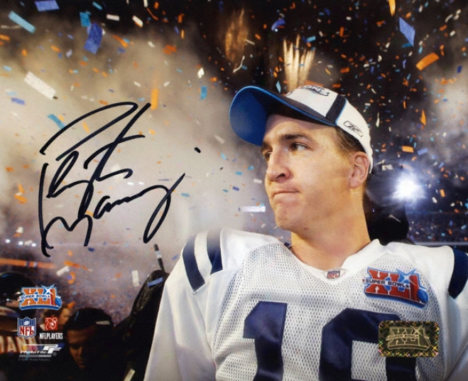Peyton Manning Indianapolis Colts - Sb Confetti Shot - Autographed 8x10 Photograph