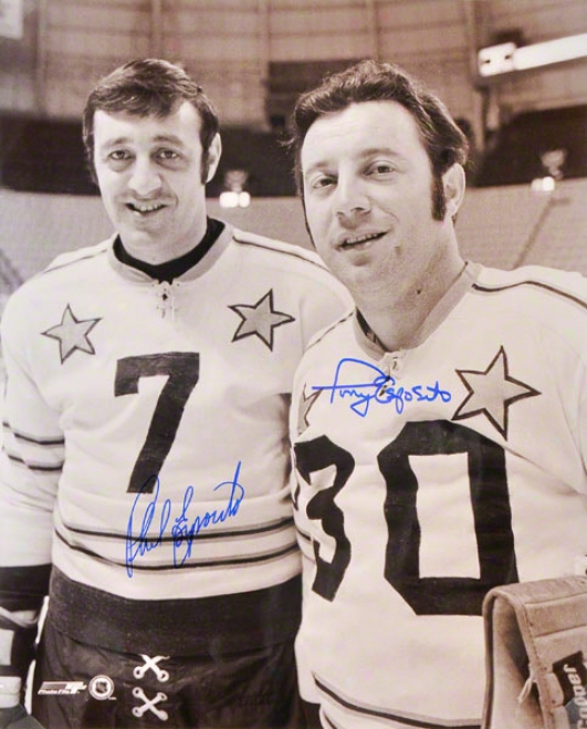 Phil Esposito And Tony Esposito Dual Autographed Photograph