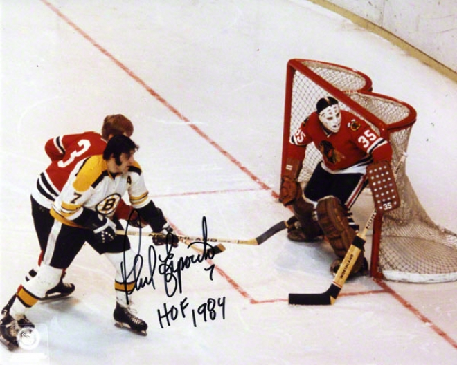 Phil Esposito Autographed 8x10 Photograph  Details: Boston Bruins, Vs. Chicago Blackhawks, With &quothof 1984&quot Inscription