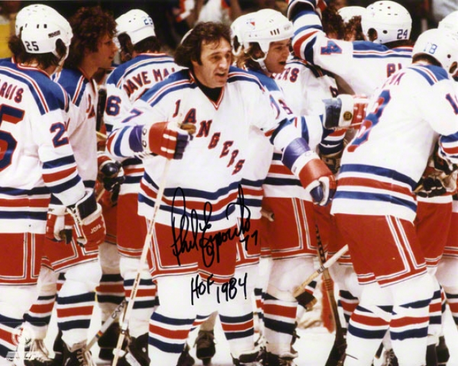 Phil Esposito Autographed 8x10 Photograph  Details: New York Rangers, Pose, With &quothof 1984&quot Inscription