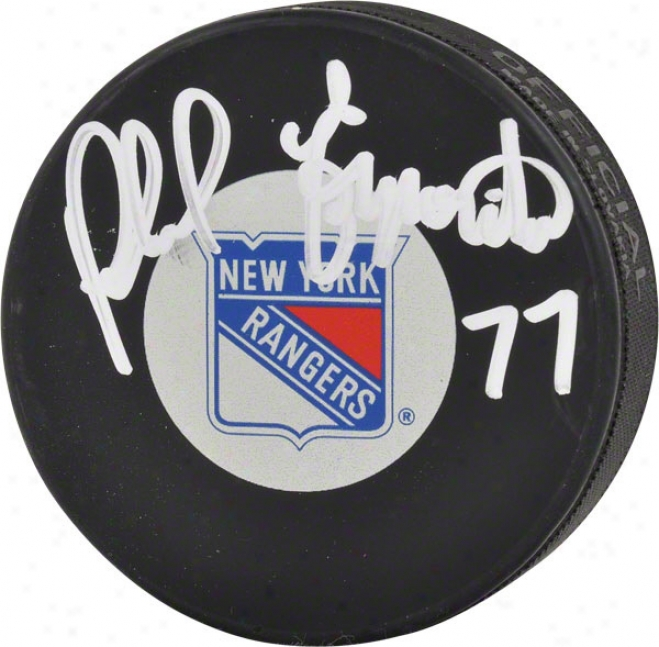 Phil Esposito Autographed Puck  Details: New York Rangers