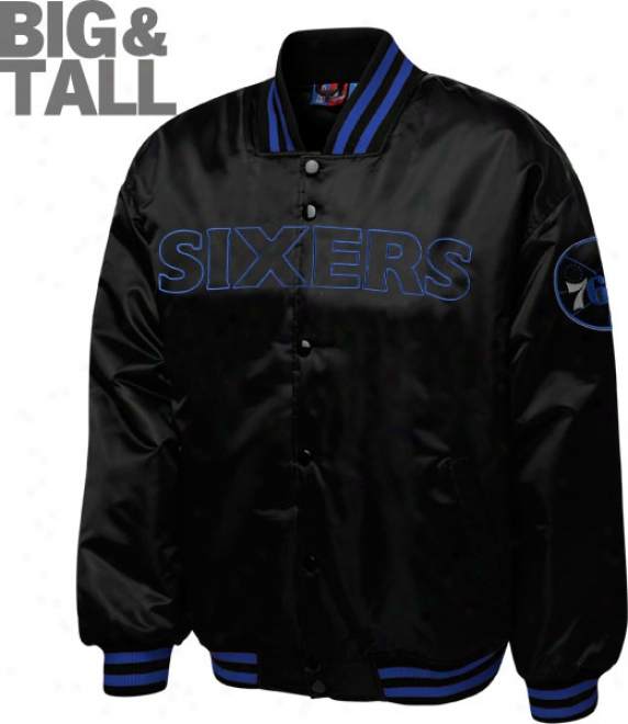 Philadelphia 76ers Big & Tall Black Forward Black Satin Jacket