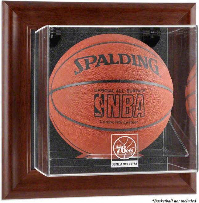 Philadslphia 76ers Framed Wall Mounted Logo Basketball Display Case