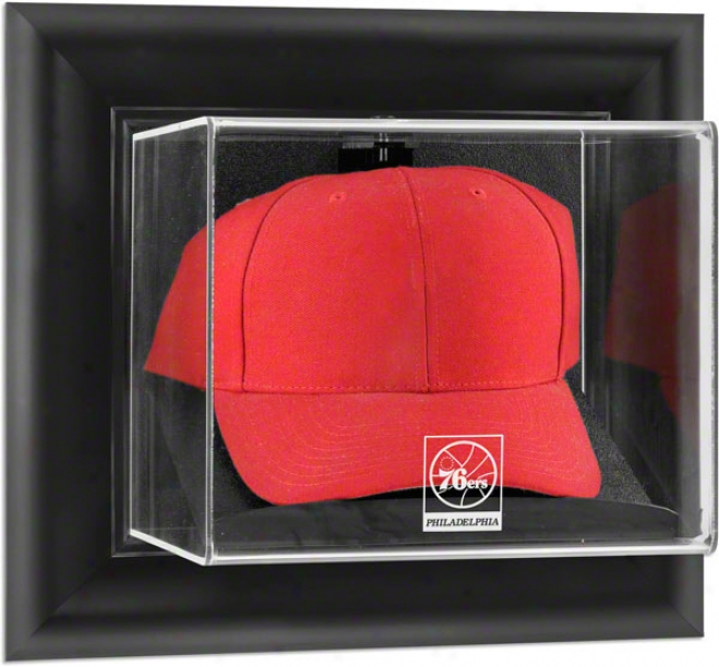Philadelphia 76ers Framed Wall Mounted Logo Cap Display Case
