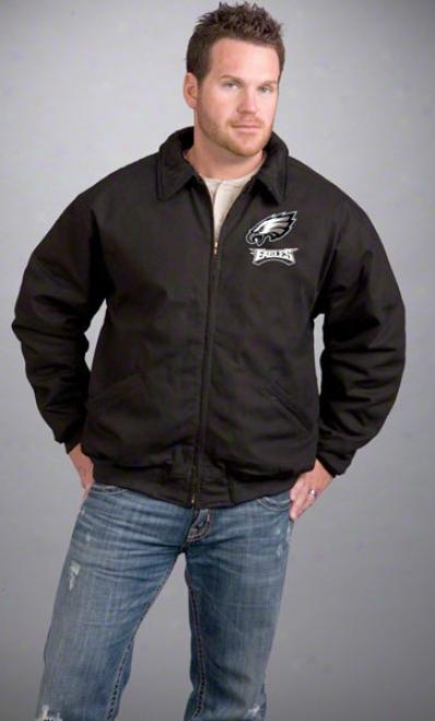 Philadelphia Eagles Jacket: Black Reebok Saginaw Jerkin