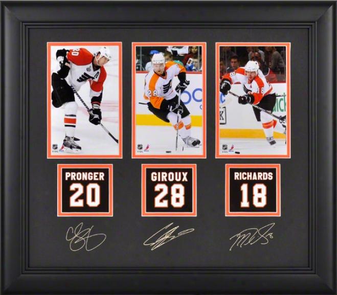 Philadelphia Flyers Framed Photographs  Details: Chris Pronger, Claude Giroux, Michael Richards, Facskmile Signatures, Jersey Back Replica Miniatures
