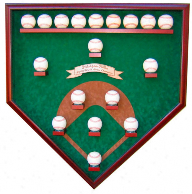 Philadelphia Phillies 18 Ball 2008 World Series Field Of Dreams Display Case