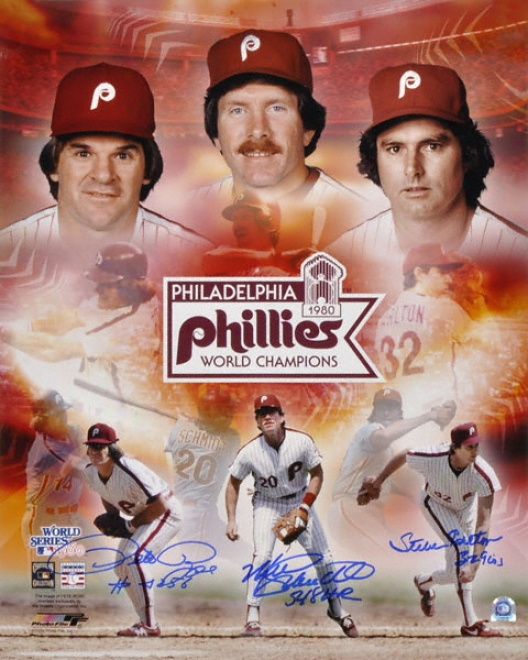 Philadelphia Phillies 1980 World Series Autographed 16x20 Collage Signed By Pete Rose,S teve Carlton And Mike Schmidt