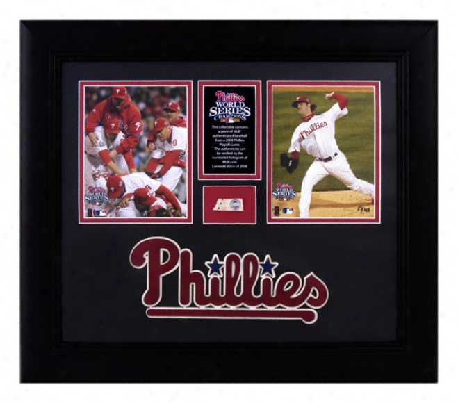 Philadelphia Phillies - 2008 World Series Champions - Framed 2-4x5 Photographs With Game Used Baseball