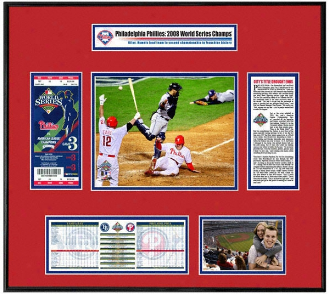 Philadelphia Phillies 2008 World Succession Ticket Frame Game 3 Winning Run