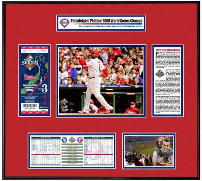 Philadelphia Phillies 2008 World Series Ticket Frame Game 4 Ryan Howard