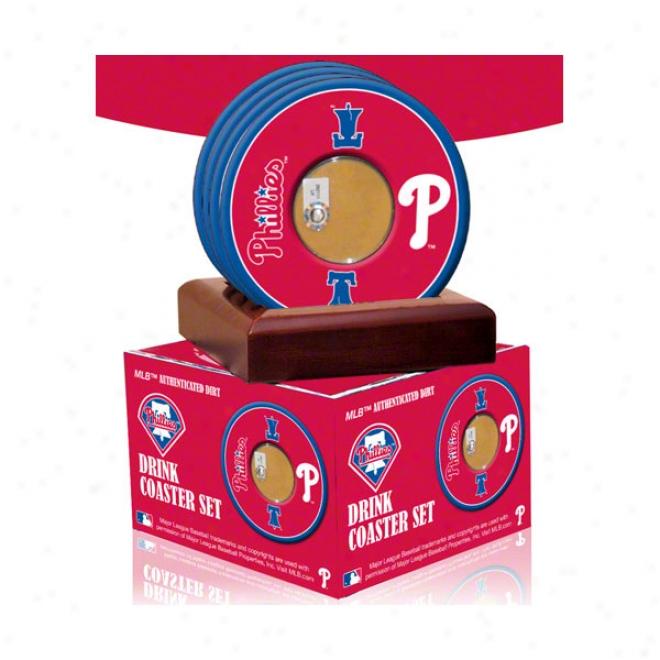 Philadelphia Phillies 4 Pack Coaster Seet With Plan Used Dirt