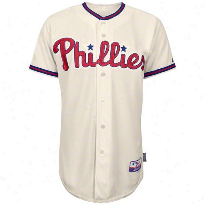 Philadelphia Phillies Alternate Ivory Authentic Cool Baseã¢â�žâ¢ On-field Mlb Jersey