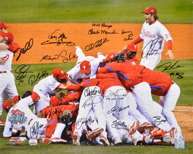 Philadelphia Phillies Autographed 16x20 Photograph  Details: Team Signed, 2008 World Series, Celebration