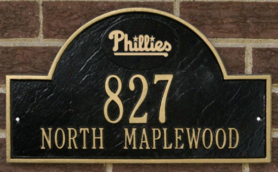 Philadelphia Phillies Black And Gold Personalized Address Wall Plaque