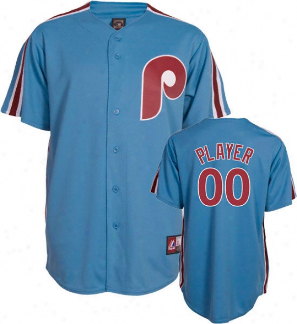 Philadelphia Phillies Cooperstown Columbia Blue -any Gamester- Replica Jersey