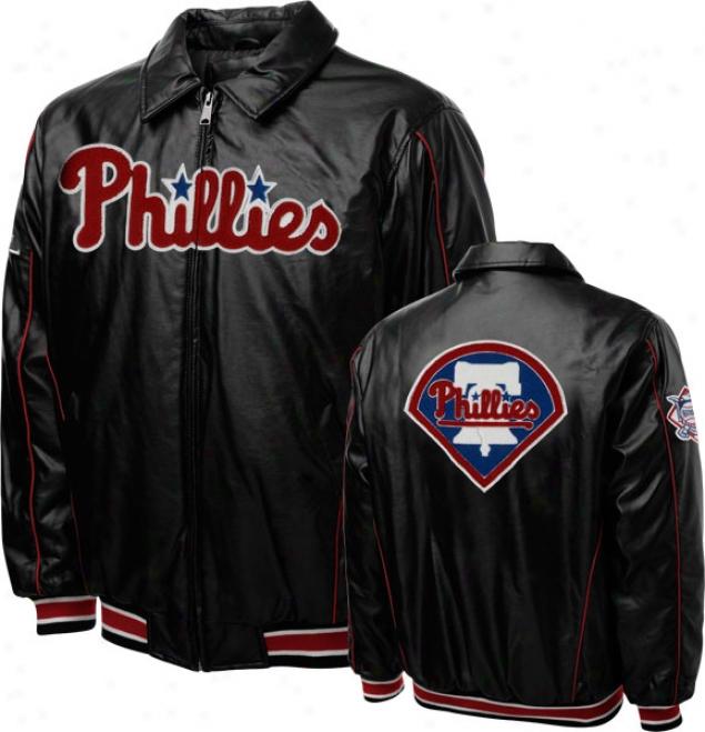 Philadelphia Phillies Faux Leather Full-zip Varsity Jacket