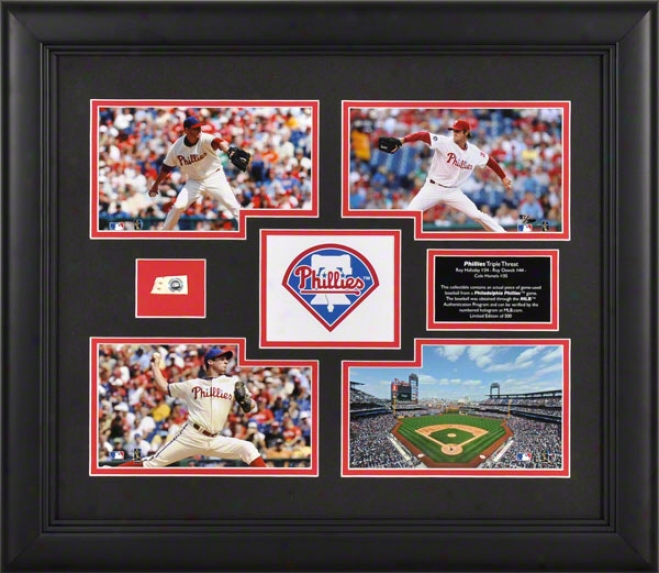 Philadelphia Phillies Framed 4-photograph Colkage  Details: Triple Threat, Halladay, Hamels, Oswalt, Game Used Baseball Piece, Limited Edition Of 500
