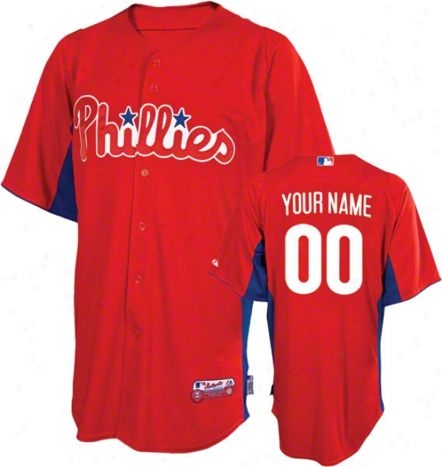 Philadelphia Phillies Jersey: Personallzed Authentic Scarlet On-field Batting Practice Jersey
