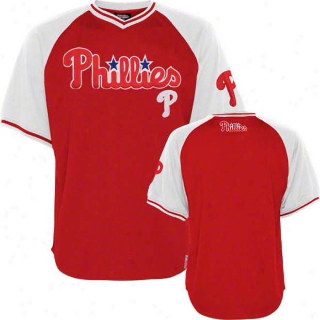 Philadelphia Phillies Jersey: Stitches Red V-neck Jersey