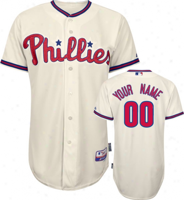 Philadelphia Phillies - Persnoalized With Your Name - Authentic Cool Baseã¢â�žâ¢ Alternate Ivory On-field Jersey