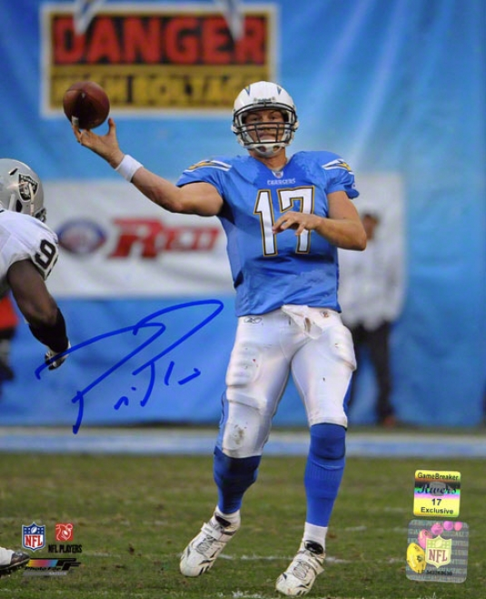 Philip Rivers Autographed 8x10 Photograph  Details: San Diego Chargers