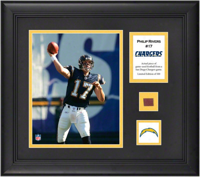 Philip Rivers Framed 8x10 Photograph  Detailx: San Diego Chargers, With Game Used Football Piece And Drscriptive Lamina