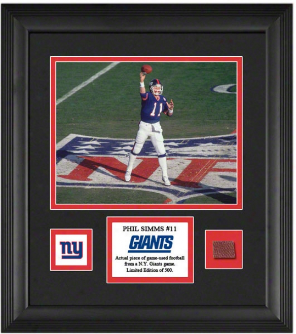 Phill Simms Framed 8x10 Photograph  Details: New York Giants, Upon Game Used Footbapl Piece And Descriptive Plot3